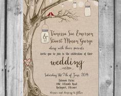 Lovebirds & Mason Jars Wedding Invitation Set