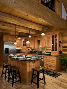 Log cabin is perfect for vacation homes by Log Cabin Homes Modern Design Ideas, second homes, or those who want to downsize into a smaller log home. Log cabin dimensions for Log Cabin Homes Modern Design Ideas of cheap and… Continue Reading → Rustic Wood Cabinets, Wood Kitchen Cabinets, Cupboards, Log Home Kitchens, Home Decor Kitchen, Kitchen Ideas, Kitchen Dining, Kitchen Island, Nice Kitchen