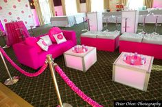 Hot Pink Theme Bat Mitzvah Lounge New York {Party Planner: The Event of a Lifetime, Peter Oberc Photography} - mazelmoments.com