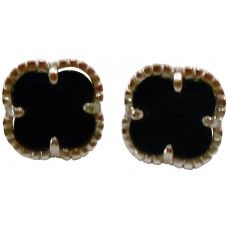 STERLING SILVER CLOVER SHAPE EARRING WITH BLACK AGATE (.925 BASE