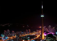 Photo of the Moment: CN Tower Over Electric Toronto — Vagabondish Cn Tower, Toronto, Canada, In This Moment, Night, City, Building, Photography, Travel