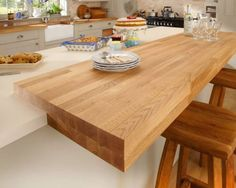 Cream Square Edged and Solid Oak Block Worktops