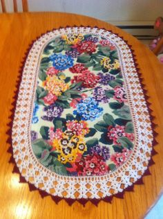 Aunt Roo's Spring Flowers fabric table runner w/ by auntroo, $28.00