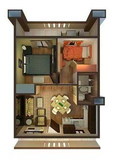 Denah Rumah 723742602600754866 - plan Source by sarahaouan Small House Layout, House Layout Plans, Small House Design, Small House Plans, House Layouts, Small Apartment Plans, Apartment Floor Plans, Small Apartments, Studio Apartment Layout