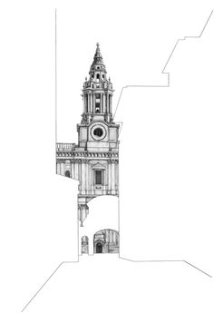Architectural Drawings Behind Empty Building Silhouettes Architectural Drawings Behind Empty Buildin Architecture Concept Drawings, Architecture Sketchbook, Architecture Artists, Architecture Design, Building Drawing, Building Art, Tower Building, Buildings Artwork, Building Silhouette