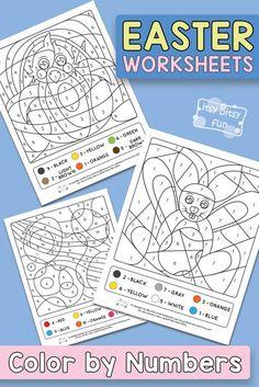 Free Printable Easter Coloring by Number Worksheets for Kids #colorbynumber #freeprintables #worksheetsforkids