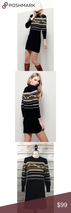 NWOT Free People Hot Cocoa Mini Dress in Black Sweater Dress with cool designs. Black with yellow accent colors. PLEASE NO TRADES! NO P PA L! NO MRCRI! I am very open to offers but please remember to be reasonable. If you would like discounted shipping just let me know in the comments below and I can lower the price. I have a bundle discount too for more savings. Please go ahead and send an offer I dont bite! 😁 Free People Dresses Long Sleeve