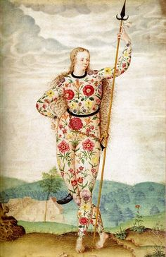 Young Daughter of the Picts, c.1585, by Jacques Le Moyne de Morgues; the ancient Picts were renowned for their body art, hence this fanciful rendition of a woman whose body is decorated with floral designs, symbolising love, beauty and fertility.