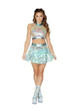 Rave Festival Wear Alice in Wonderland inspired Rave Mini Skirt Metallic Blue White with Bows Alice Cosplay Skirt