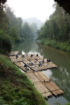 The many modes of transportation in #Thailand--> rafts, trolleys, and elephants! #travel