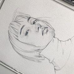 Girl Hair Drawing, Cute Girl Drawing, Cute Drawings, St Cuthbert, Pencil Sketch Drawing, How To Draw Hair, Cute Art, Foto E Video, Watercolor