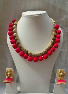 for order plz WhatsApp me 9148863976 Silk Thread Necklace, Beaded Necklace Patterns, Jewelry Patterns, Silk Thread Bangles, Thread Jewellery, Fabric Jewelry, Bridal Jewelry, Beaded Jewelry, Handmade Jewelry