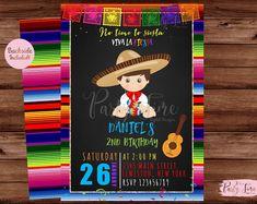Invitación mexicana invitación del cumpleaños de la Fiesta   Etsy Boy Birthday Parties, 4th Birthday, Birthday Ideas, Mexican Party Decorations, Mexican Style, First Birthdays, Phoenix, Cactus, Party Ideas