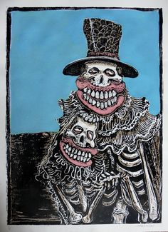 """Limited Edition Hand-Coloured Woodcut Print: """"Lovers"""" by Sweet Toof"""