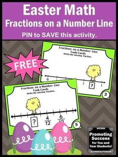 These FREE math fractions on a number line task cards feature an Easter or spring chick theme. They work well in math centers or stations for 2nd grade, 3rd grade or special education students. They may have a scavenger hunt, play SCOOT games or other fun activities. They also work well as a math review, test prep, quick formative assessment or as extra practice for special education kids. They are Common Core aligned for your classroom lesson plans.