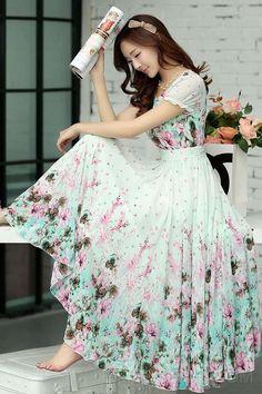 2014 Charming Round-Neck Puff Sleevele Print Maxi Dress Maximum Style