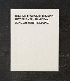 new sponge. letterpress card. by shopsaplingpress on Etsy