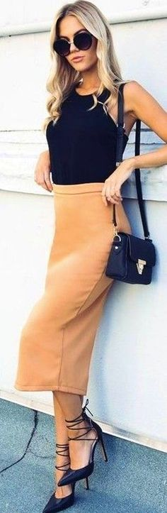 #fall #executive #peonies #outfits   Al Black + Apricot 'Looking Up Skirt'