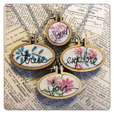 Isa Creative Musings: Mini Embroidery Hoop Pendants and Vintage Embroidered Linens Miniature Portraits, Custom Jewelry Design, Embroidery Hoop Art, Handmade Crafts, Needlework, Sewing Designs, Cross Stitch, Pendants, Punch Needle