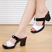 2016 nueva verano mujer sandalias zapatillas casual de verano niña zapatos de cuero genuino(China (Mainland))