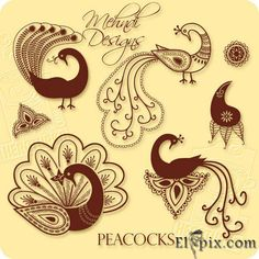 Peacock Henna Designs | Mehndi Peacock Designs ~ mine is the bottom right, my beastie has the other above just/slight left <3