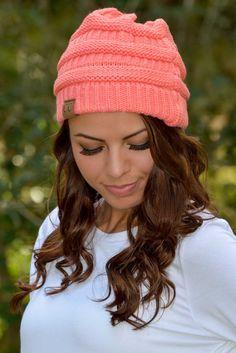 Slouchy Knit Beanie Coral Shop Simply Me Boutique SMB – Simply Me Boutique