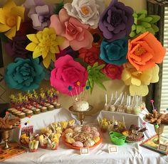 Paper flower wall; desert table fiesta Frida Kahlo themed birthday