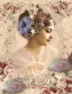 """Some of the most beautiful """"jeweled"""" digital art around! Prints up beautiful for framing! The soft colors are so shabby chic/romantic. I have this one in a pretty white frame in my livingroom. Vintage Labels, Vintage Ephemera, Vintage Cards, Vintage Paper, Vintage Postcards, Victorian Pictures, Vintage Pictures, Vintage Images, Rose Shabby Chic"""