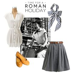 Roman Holiday inspired outfit. So lovely. One of our favorite movies! I would trade the short skirt for gray skinny jeans/leggings and the bow tie for an infinity scarf.