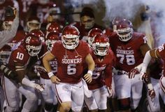Oklahoma's Baker Mayfield (6) takes the field before a college football game between the University of Oklahoma Sooners (OU) and the Iowa State Cyclones at Gaylord Family-Oklahoma Memorial Stadium in Norman, Okla., on Saturday, Nov. 7, 2015. Oklahoma won 52-16. Photo by Bryan Terry, The Oklahoman