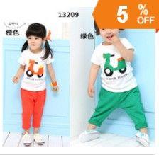 http://www.aliexpress.com/store/621900     2013 Retail free shipping fashion cute short sleeve + pants children summer clothing set size:100/110/120/130/140