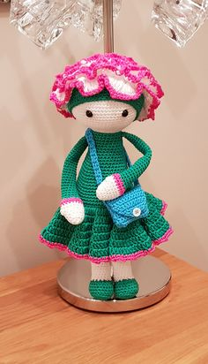 Carnation Cati flower doll made by Sandie O - crochet pattern by Zabbez