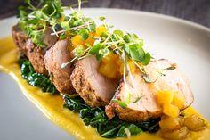 lomo de cerdo | pork tenderloin, collard greens, butternut squash puree, pineapple-habanero sauce