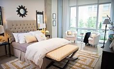 Love the Pops of Yellow in this Bedroom