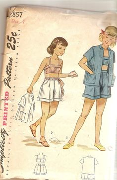 1940s Girls Bra Top Pattern Short and Jacket size by CherryCorners, $10.00