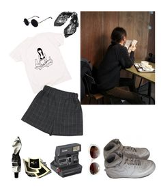 """Coffee hour"" by bloss-umm ❤ liked on Polyvore featuring Yves Saint Laurent, Emmanuelle Khanh, Aesop, Polaroid and NIKE"
