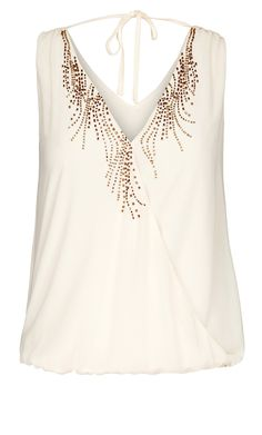 City Chic - CROSSOVER BEADED TOP  - Women's Plus Size Fashion  #plussize