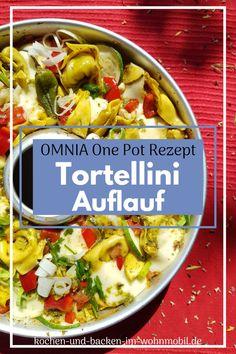 One Pot Rezept: Sommergemüse mit Pesto und Tortellini, überbacken mit Mozzarella aus dem OMNIA Backofen Pesto Genovese, One Pot, Mozzarella, Gratin, Yellow Zucchini, Green Pesto, Fall Vegetables, Rv, Stew
