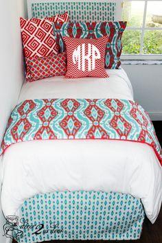 top dorm room bedding Coral & Aqua Ikat Designer Teen & Dorm Bed in a Bag Dorm Room Throw Pillow, Cute Dorm Rooms, Dorm Room Pillow, Modern Dorm Room, Apartment Bedding, Dorm Bedding Sets, Dorm Room Bedding Sets, Girl Bedroom Decor, Dorm Bedding