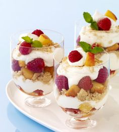 Peach and Raspberry Parfaits from familycircle.com #myplate #breakfast