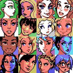 16 32x32 Women's portrait studies no.29, MSX palette. #MSX #dotpict #pixelart