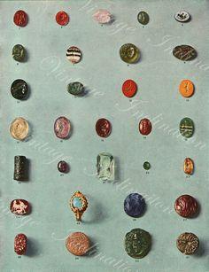 Vintage early 1900s Minerals Print Antique Gems Precious Stones print gemstones print, bookplate art print, minerals wall print wall art
