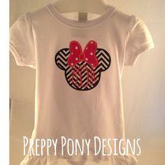 Chevron Minnie Shirt by preppyponydesigns on Etsy, $24.00