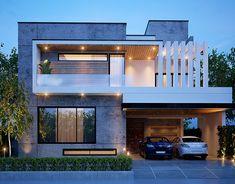 10 Marla Exterior on Behance Modern Exterior House Designs, Best Modern House Design, Modern House Facades, Modern Architecture House, Exterior Design, Modern Bungalow Exterior, 2 Storey House Design, Duplex House Design, House Front Design