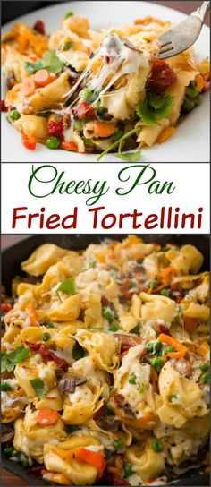 This is one of our favorite dinners, cheesy pan fried tortellini. My husband made up the recipe and it looks almost too simple, but it's delicious! via @ohsweetbasil