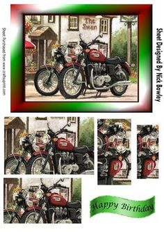 Vintage motorbikes outside a country pub pyramids on Craftsuprint - Add To Basket!
