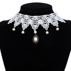 Yazilind Jewelry White Lace Collar Necklace Lolita Jewelry Pendant Beads Sexy Noble for Women Length:12in
