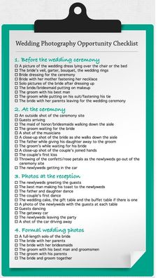 Great wedding photo checklist!