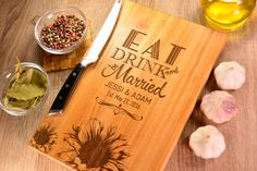 Personalized Cutting Board, Wedding Gift, Eat Drink Be Married, Wedding Gift for…