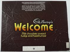 Cadburys 'Welcome' chocolate bar from the late 1970s early 1980s